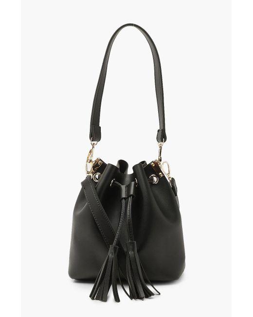 Boohoo Black Tassel Detail Bucket Cross Body Bag