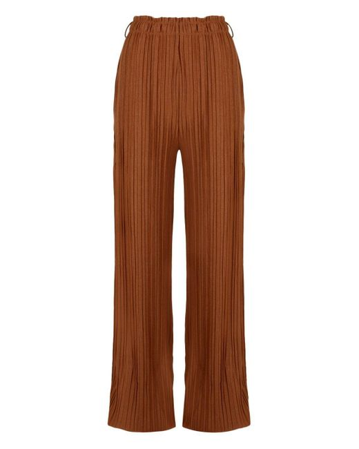 e4af411115a66 ... Boohoo - Brown Tall Wide Leg Pleated Trousers - Lyst