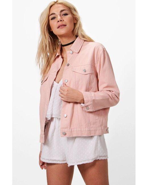 Boohoo - Pink Willa Nude Oversized Denim Jacket - Lyst