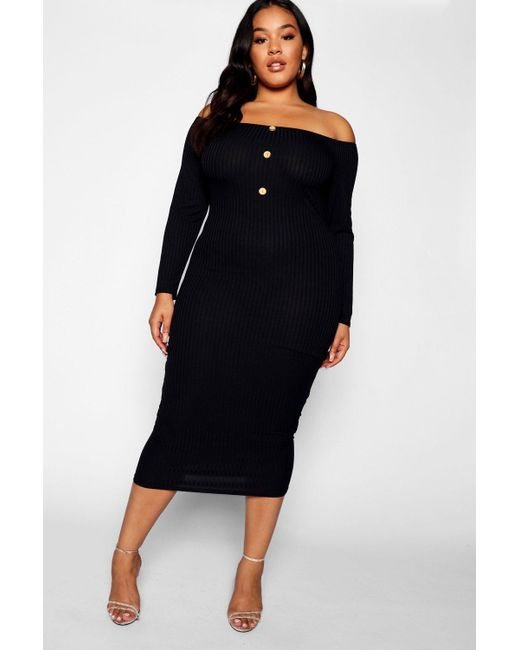 b87a3a6fff85 Boohoo - Black Plus Horn Button Down Ribbed Bardot Midi Dress - Lyst ...