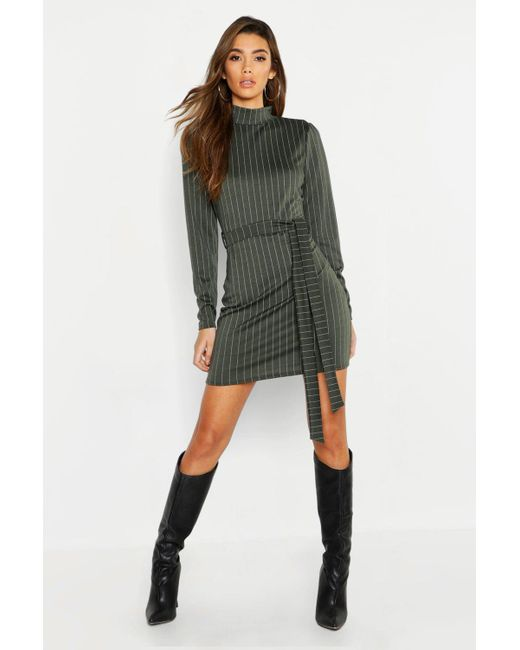 c61ebf0c882198 Boohoo - Multicolor High Neck Long Sleeve Pinstripe Belted Mini Dress - Lyst  ...