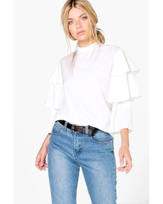 Boohoo - White Tiered Sleeve High Neck Top - Lyst