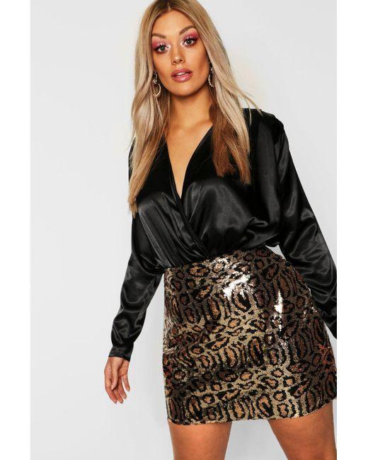 5ca981ad05653 Boohoo - Black Gemma Collins Leopard Print Skirt - Lyst ...