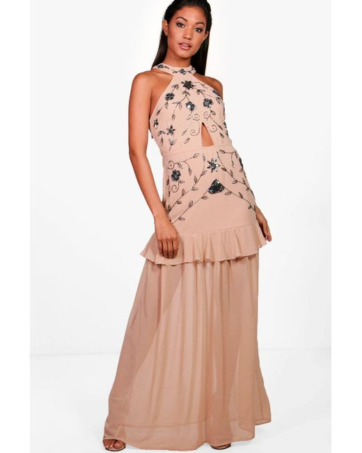 High Quality Buy Online Boohoo Boutique Waterfall Ruffle Maxi Dress Buy Cheap Official Clearance Cheapest Price Natural And Freely Oogu0