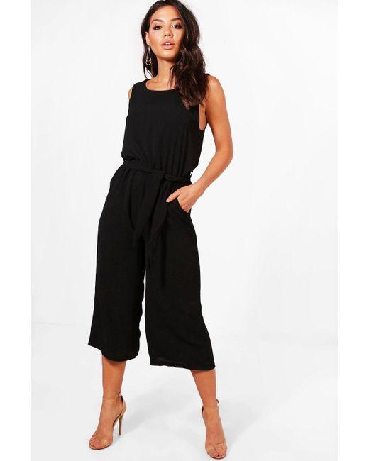 a29d0c82baa Boohoo - Black Culotte Jumpsuit - Lyst ...