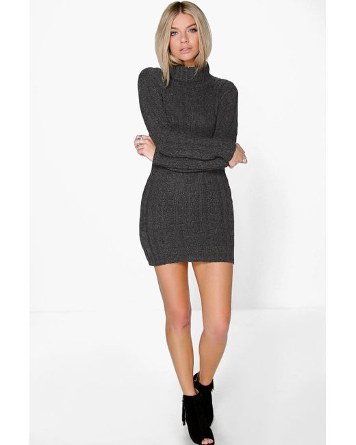 Lyst Boohoo Cable Knit Jumper Dress In Gray