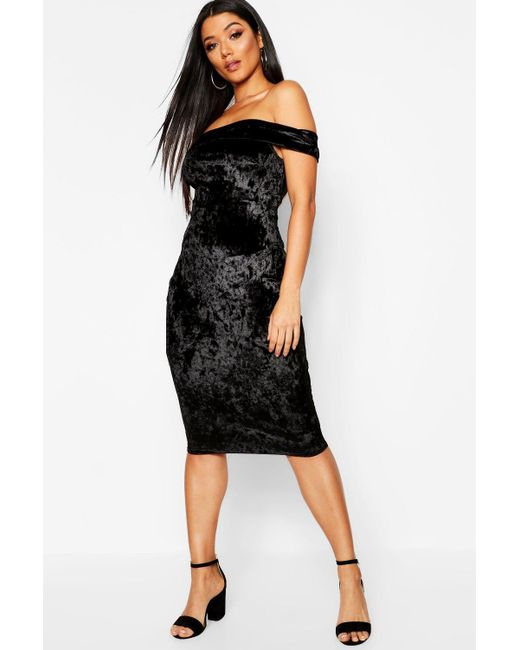353bef576366 Boohoo - Black Crushed Velvet Bardot Midi Dress - Lyst ...