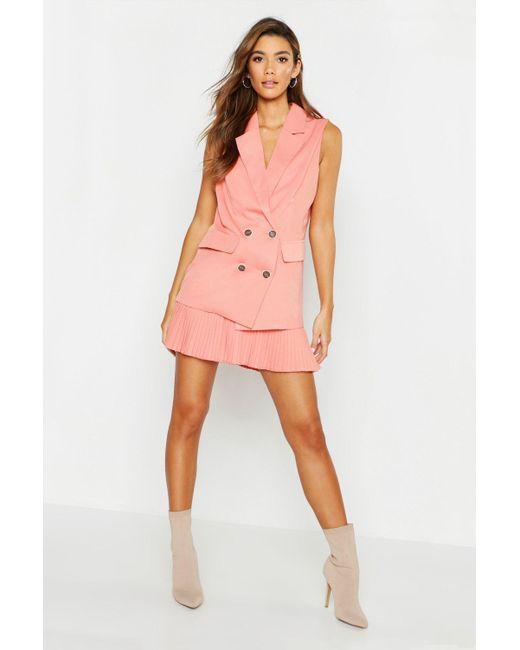 9fbbc72e43ed Boohoo - Pink Woven Sleeveless Double Breasted Blazer - Lyst ...