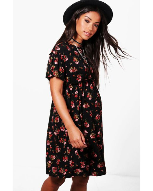 e4c2cdee43ec Boohoo - Black Maternity Floral Smock Dress - Lyst ...
