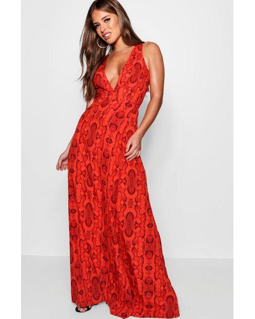 Boohoo - Red Petite Snake Print Wrap Maxi Dress - Lyst