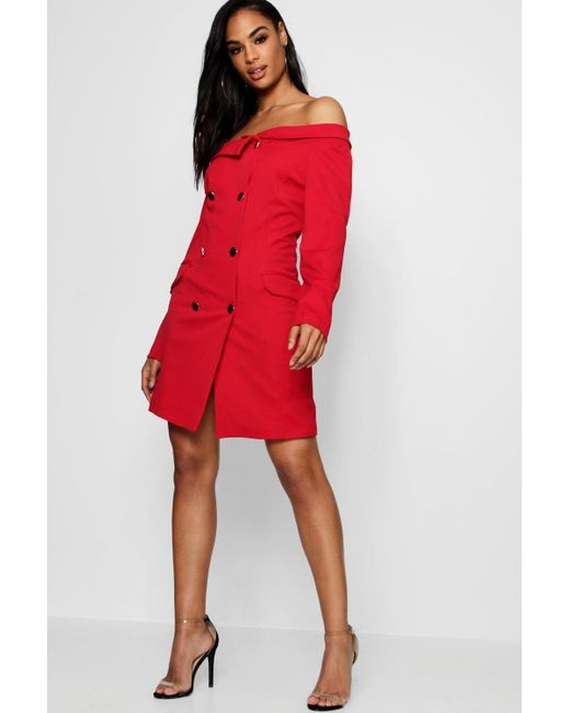 42bdd528fd6a Boohoo - Red Double Breasted Off The Shoulder Blazer Dress - Lyst ...