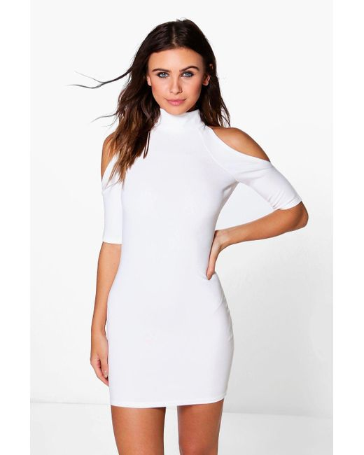 Boohoo | White Petite Rhianne Cold Shoulder Turtle Neck Dress | Lyst