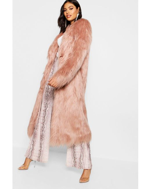 Boohoo - Pink Maxi Mongolian Faux Fur Coat - Lyst