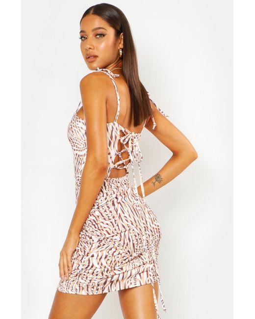 25200ff6129d Boohoo - Multicolor Mixed Animal Print Lace Up Back Mini Dress - Lyst ...