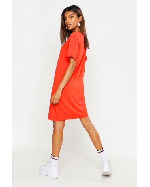 Boohoo Black Turn Back Cuff T-shirt Dress
