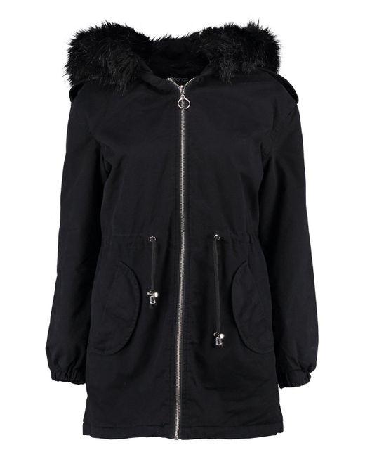 Boohoo Black Petite Faux Fur Hood Parka