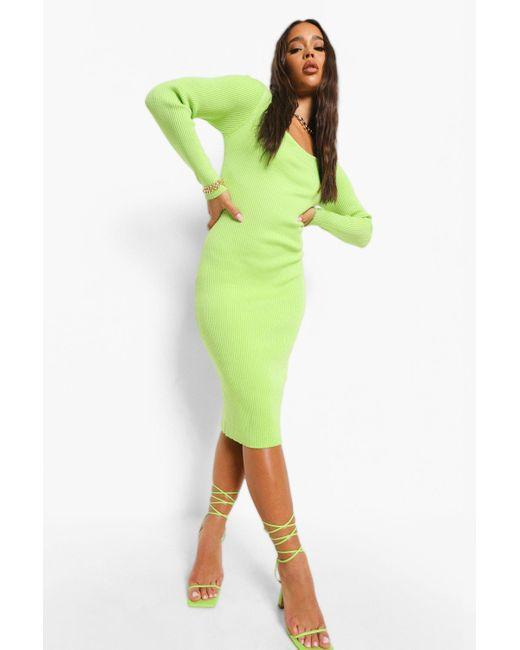 Boohoo Green Square Neck Premium Rib Midi Dress