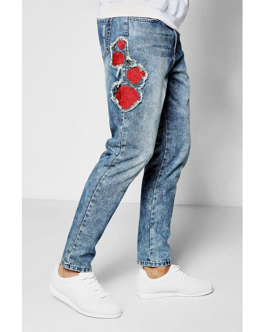 Boohoo skinny fit rose embroidered denim jeans in blue for