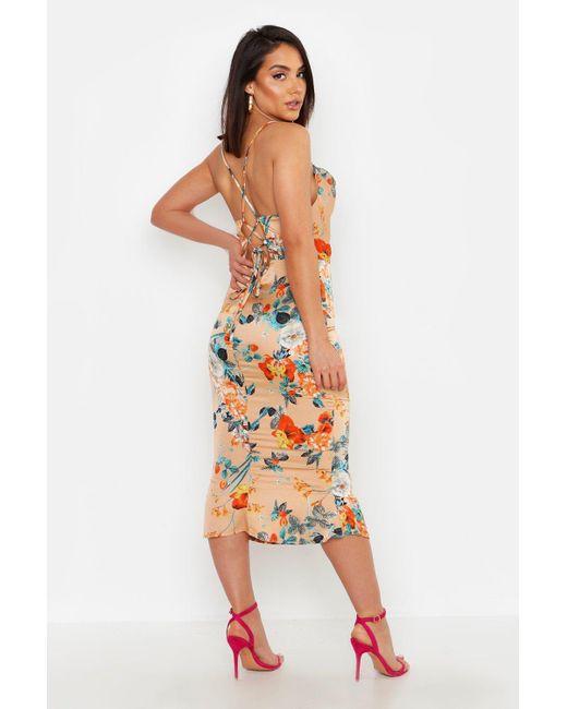 032a223452ac ... Boohoo - Metallic Satin Floral Cowl Flute Hem Slip Dress - Lyst