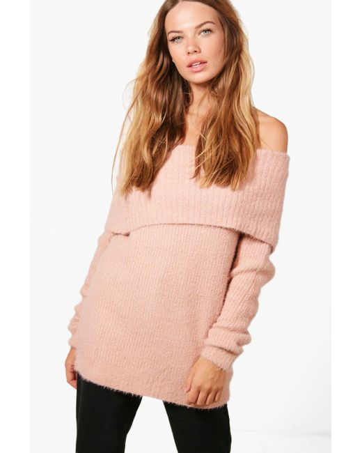 Boohoo   Pink Louise Soft Knit Bardot Jumper   Lyst