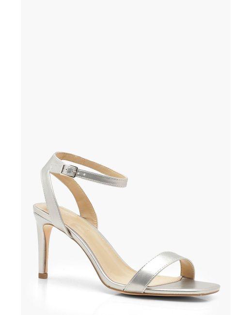 ffe94e05551 Boohoo Metallic Low Heel Square Toe 2 Part Heels in Metallic - Lyst