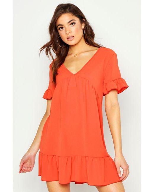 Boohoo Orange Plunge Ruffle Sleeve Smock Dress