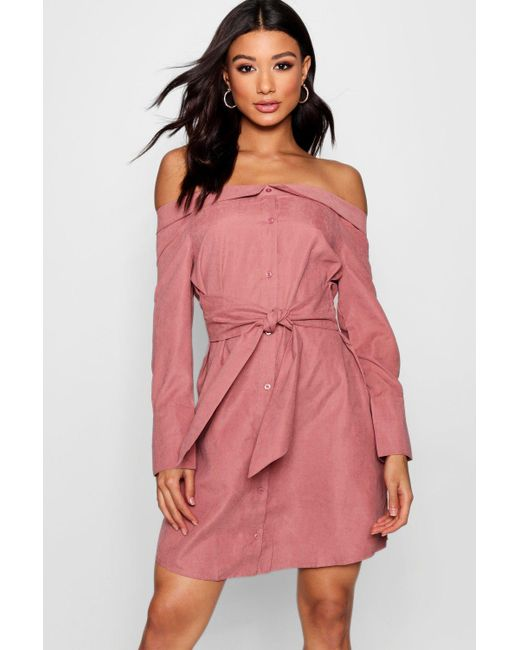 cca962a352ab Boohoo - Pink Off The Shoulder Tie Front Shirt Dress - Lyst ...