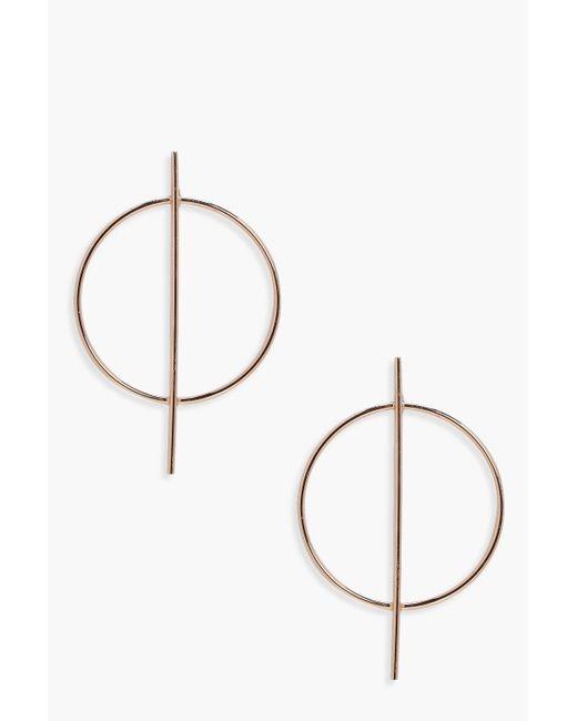 Boohoo - Metallic Circle And Bar Hoop Earrings - Lyst