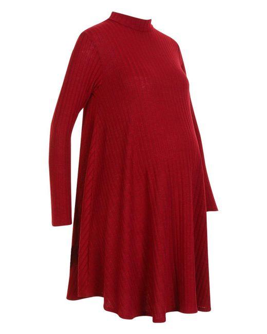 f18104fa6bf4d ... Boohoo - Red Maternity Wide Rib Role Neck Swing Dress - Lyst