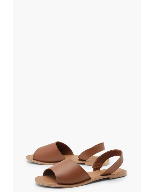 Boohoo Brown Lily Wide Fit 2 Part Peeptoe Leather Sandal