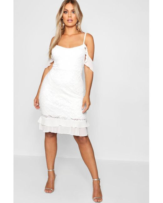 57f00430cca45 Boohoo - White Plus Cold Shoulder Lace Frill Dress - Lyst ...