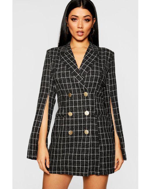 66b9c6e783e6 Boohoo - Black Button Front Split Sleeve Blazer Dress - Lyst ...