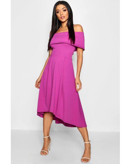 Boohoo - Purple Off The Shoulder Dip Hem Skater Dress - Lyst ... 8b038fdc1