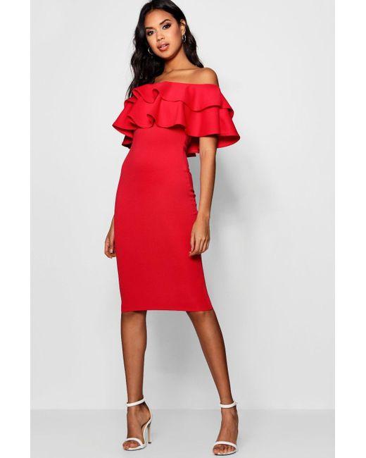 442eda6e63d Boohoo Bardot Layered Frill Detail Midi Dress in Red - Lyst