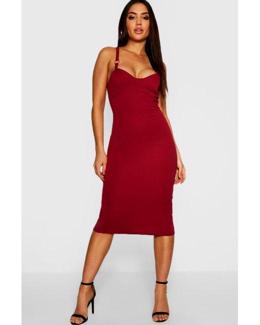 d4be15c1dd7fa Boohoo - Red O Ring Detail Midi Dress - Lyst ...