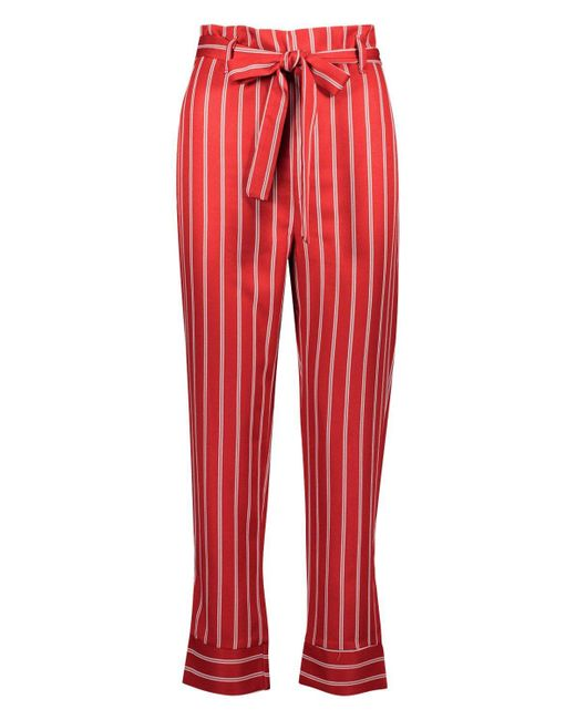 e17dced1ac0ff Boohoo Petite Paper Bag Waist Stripe Tapered Pants in Red - Lyst