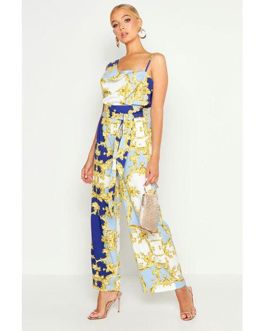 f5837bae41fc Boohoo - Multicolor Pastel Chain Print Wide Leg Trousers - Lyst ...