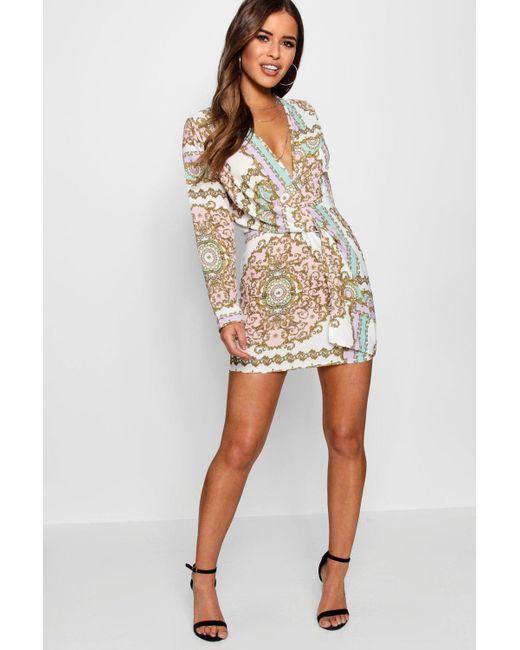 fdf6321d0f68 Boohoo - White Petite Chain Print Woven Shift Dress - Lyst ...