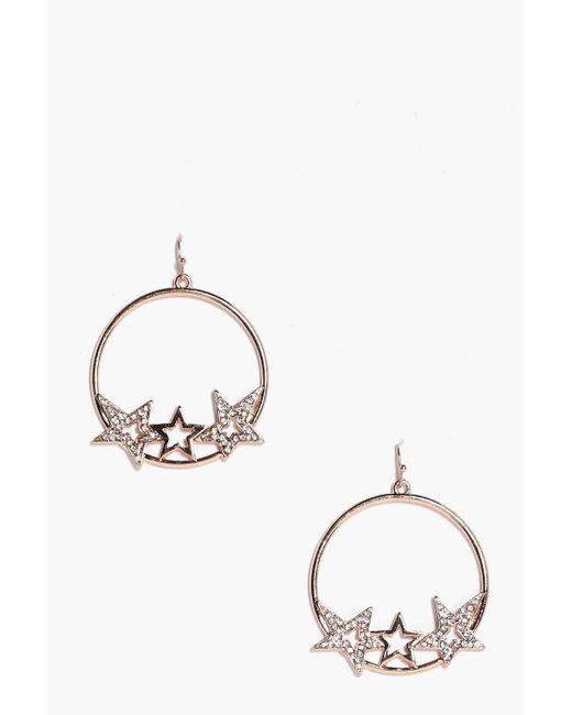 Boohoo | Metallic Emma Diamante Star Hoop Earrings | Lyst