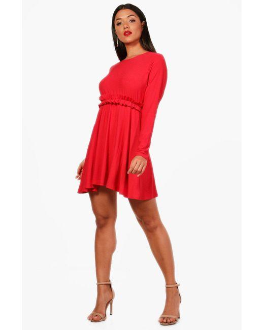 Boohoo - Red Josie Micro Ruffle Skater Dress - Lyst
