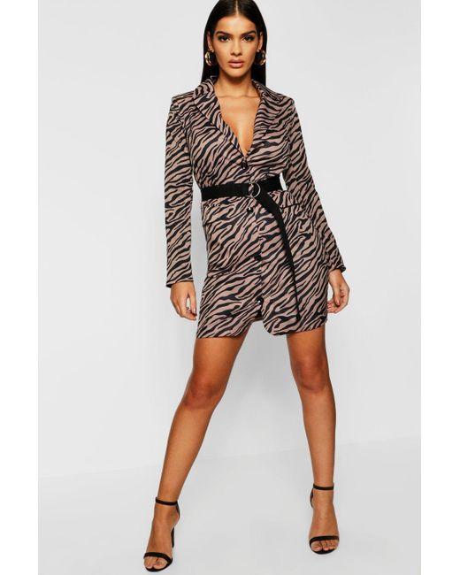 58c43dc6b980 Lyst - Boohoo Zebra Print Woven Blazer Dress in Black