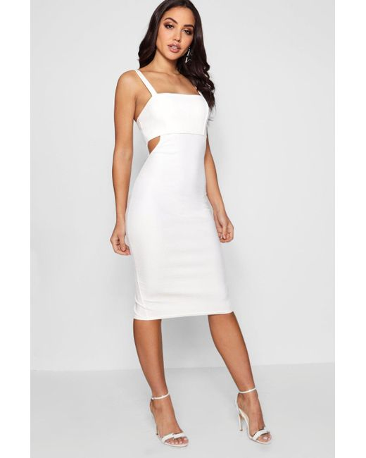 babacacfb531e Boohoo - White Square Neck Cut Out Side Midi Dress - Lyst ...