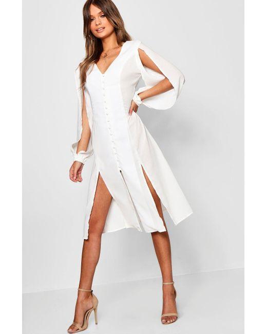 f8b0e8bedb246 Boohoo - White Anissa Split Sleeve Button Through Midi Dress - Lyst ...