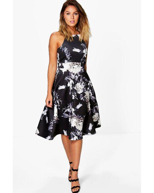 Boohoo - Black Floral Strappy Midi Skater Dress - Lyst