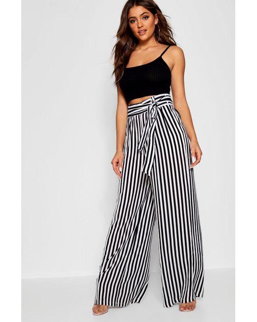 c6a0508ff55a Boohoo - Black Tie Waist Striped Wide Leg Pants - Lyst ...