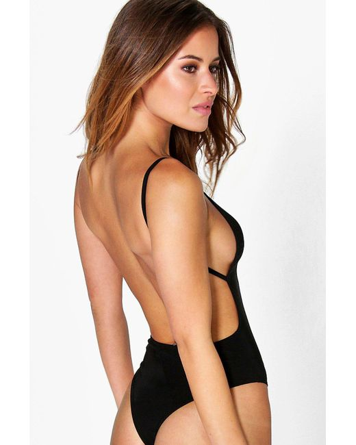 Boohoo - Black Petite Backless Strappy Thong Bodysuit - Lyst