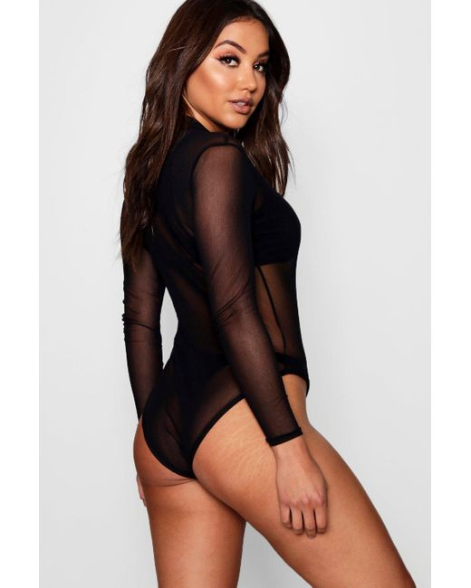 Boohoo Black Rose Turtle Neck All Over Mesh Body