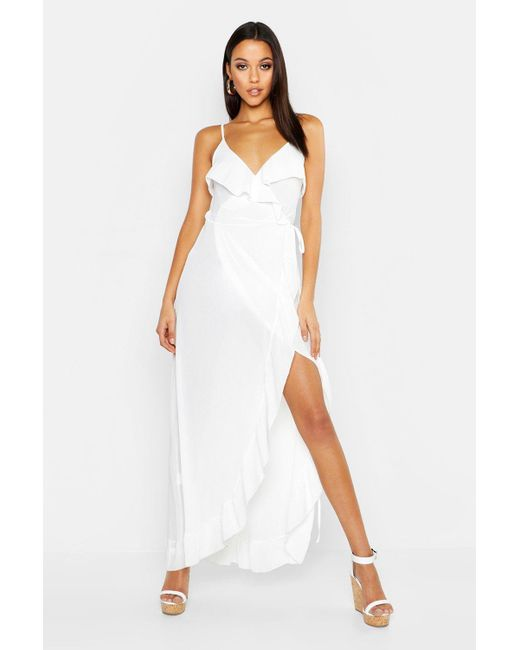 288c1e5e50ec Boohoo - White Tall Ruffle Front Beach Maxi Dress - Lyst ...