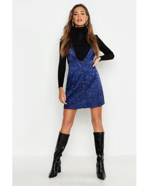 4aec0b5785 Boohoo - Blue Satin Jacquard Plunge Front Pinafore Dress - Lyst ...