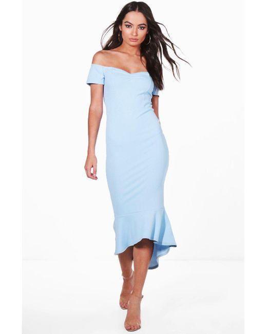 5341cb6887ad Boohoo - Blue Off The Shoulder Frill Hem Midi Dress - Lyst ...